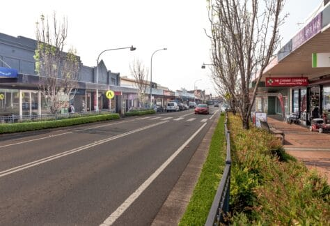 Cessnock, N.S.W, Australia - Nov 8, 2019: Vincent street in Cessnock a city in the Hunter region of New South Wales, Australia, The city is the gateway to the vineyards of the Hunter Valley.